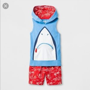 Genuine Kids Oshkosh Shark Hoodie Toddler Set 18m